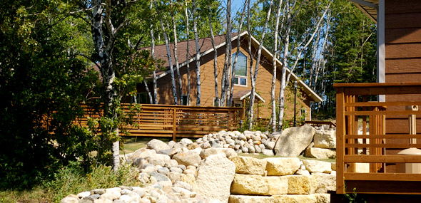 Exterior view of a chalet at Elkhorn Resort, Clear Lake, Manitoba